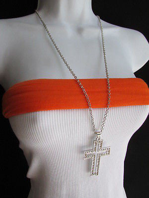 "Wester Women Silver Metal Fashion Necklace Big Cross Pendant Rhinestones 15"" - alwaystyle4you - 6"