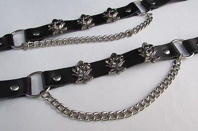 Silver Boot Chain Bracelet Pair Black Leather Straps Rose Flowers New Western Women Men - alwaystyle4you - 3