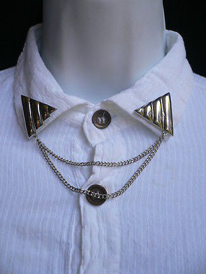Men Women Silver Triangle Shirt Collar Blouse Tip Chains Rivet Pins Western Punk - alwaystyle4you - 7