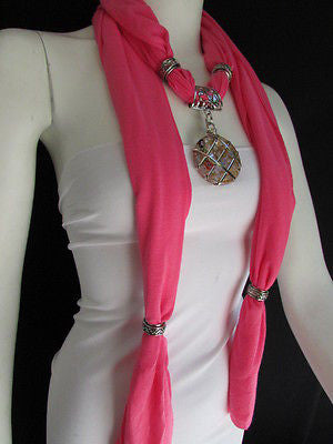Glass Pendant Pink Soft Fabric Scarf Long Necklace Silver Metal  New Women  Fashion - alwaystyle4you - 11