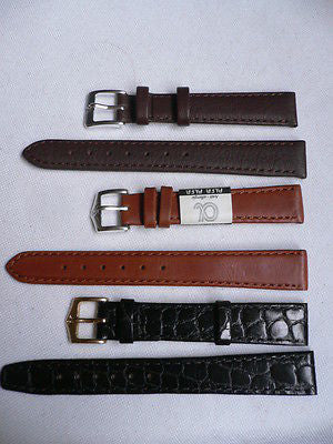 New Men Women 3 Watch Band Set Genuine Leather Crocodile Solid Anti Allergy Casual Elegant Black Dark Light Brown Fashion Jewelry 14 Mm - alwaystyle4you - 3