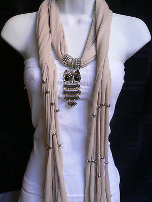 New Women Long Beige / Pnk Soft Scarf Fashion Necklace Silver Owl Pendant Rhinestones