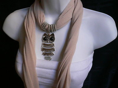 New Women Long Beige / Pnk Soft Scarf Fashion Necklace Silver Owl Pendant Rhinestones - alwaystyle4you - 12