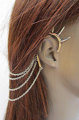 Brand New Trendy Fashion Women Silver Chain Spikes Cuff Earring To Hair Pin Headband Claw - alwaystyle4you - 9