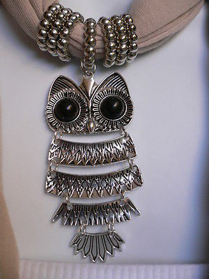New Women Long Beige / Pnk Soft Scarf Fashion Necklace Silver Owl Pendant Rhinestones - alwaystyle4you - 3
