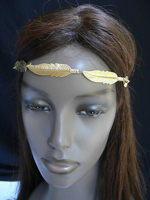 New Women Big Gold Metal Leaf Head Chain Band Fashion Jewelry Grecian Headband - alwaystyle4you - 2
