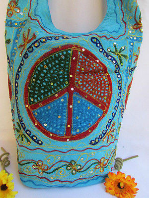 New Women Cross Body Fabric Fashion Messenger Hand Bag Big Peace Sign Black Red Blue - alwaystyle4you - 41