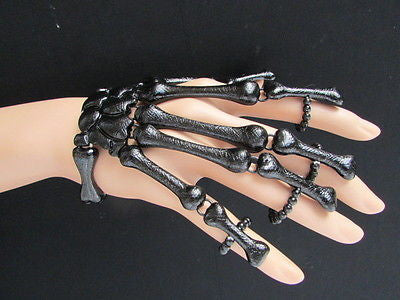 Slave Women Black Multi Fingers Metal Hand Chain Skeleton Fashion Bracelet - alwaystyle4you - 5