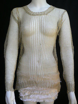 A Women Metallic Gold Knit Top Sweater Fashion Tunic Long Sleeve Blouse Medium - alwaystyle4you - 3