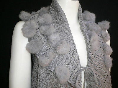 New Women Gray Trendy Knit Shawl Warm Sexy Top Faux Fun Ball Fashion Sweater Size L - alwaystyle4you - 7