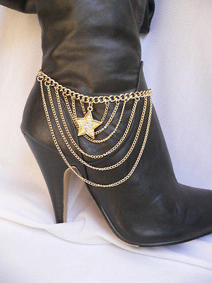 Gold / Silver Boot Big Star Multi Trendy Chain Silver Rhinestones Western Style - alwaystyle4you - 7