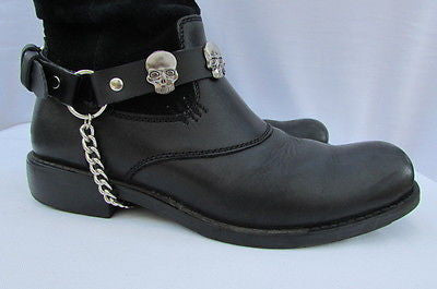 Biker Unisex Boots Silver Chains Pair Leather Straps Metal Skulls New Western Fashion - alwaystyle4you - 11