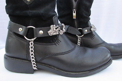 Biker Men Western Women Boot Silver Chain Pair Leather Motorcycle Boot Accessory - alwaystyle4you - 4