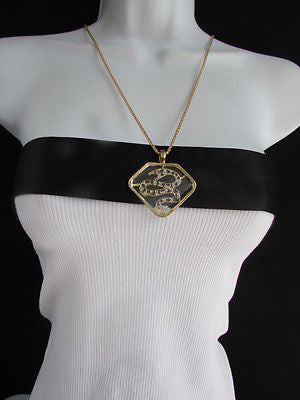 Women Gold Metal Chains Fashion Necklace Big Snake Pendant Silver Rhinestones - alwaystyle4you - 4