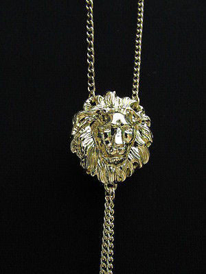 Women Full Body Chain Jewelry Long Necklace Paris Style Gold Metal Lion Head Thin - alwaystyle4you - 2