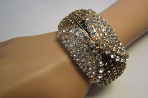 Gold / Silver Metal Retro Bracelet Cuff Multi Rhinestones New Women Fashion Jewelry Accessories - alwaystyle4you - 22