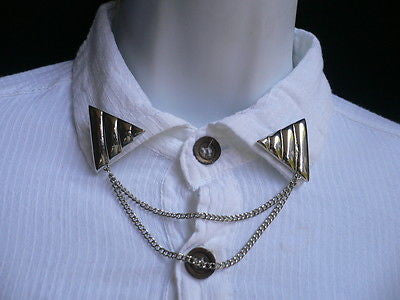 Men Women Silver Triangle Shirt Collar Blouse Tip Chains Rivet Pins Western Punk - alwaystyle4you - 9