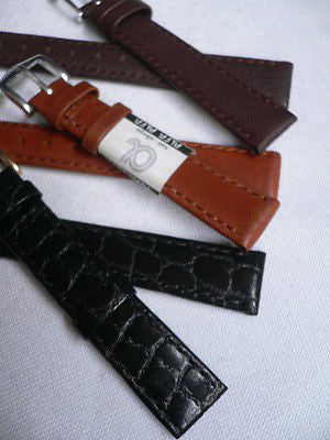 New Men Women 3 Watch Band Set Genuine Leather Crocodile Solid Anti Allergy Casual Elegant Black Dark Light Brown Fashion Jewelry 14 Mm - alwaystyle4you - 5