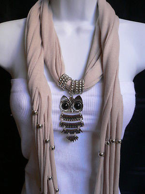 New Women Long Beige / Pnk Soft Scarf Fashion Necklace Silver Owl Pendant Rhinestones - alwaystyle4you - 5