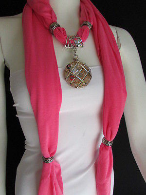 Glass Pendant Pink Soft Fabric Scarf Long Necklace Silver Metal  New Women  Fashion - alwaystyle4you - 4
