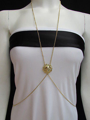 Women Full Body Chain Jewelry Long Necklace Paris Style Gold Metal Lion Head Thin - alwaystyle4you - 1