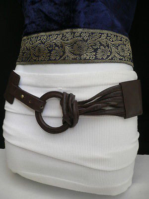 Z NEW CASUAL WOMEN HIP ELASTIC MOCHA BROWN WIDE FASHION BELT CIRCLE BUCKLE S / L - alwaystyle4you - 6