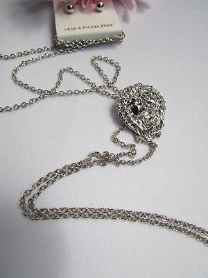 "WOMEN SILVER CHAINS FASHION NECKLACE LION HEAD PENDANT 1""/1"" EXTRA LONG 22"" DROP - alwaystyle4you - 6"