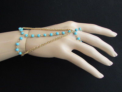 Women Gold Fashion 3 Strands Hand Chains Sky Blue Beads Hand Bracelet Slave Ring - alwaystyle4you - 7