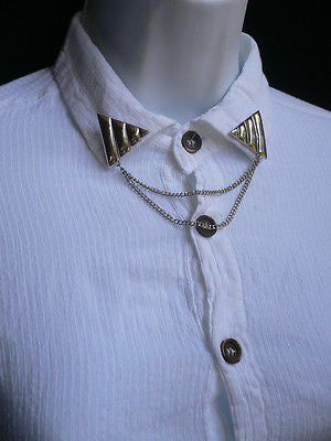 Men Women Silver Triangle Shirt Collar Blouse Tip Chains Rivet Pins Western Punk - alwaystyle4you - 5