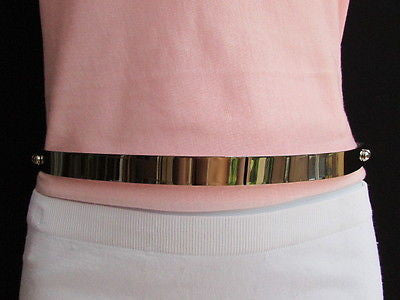 Silver / Gold Metal Mirror Plate Chic Black Fabric Stretch Waist Hip Thin Belt New Women Fashion Accessories XS To L - alwaystyle4you - 12
