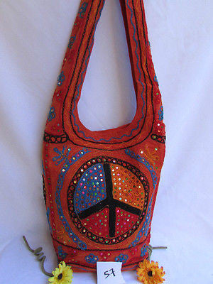 New Women Cross Body Fabric Fashion Messenger Hand Bag Big Peace Sign Black Red Blue - alwaystyle4you - 10