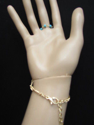 Women Gold Fashion 3 Strands Hand Chains Sky Blue Beads Hand Bracelet Slave Ring - alwaystyle4you - 9