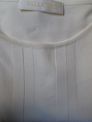 Brand New Valentino Women Top Basic Cream - Off White Classic Boat Neck Sleevless Knit Shirt Size: Large - alwaystyle4you - 5