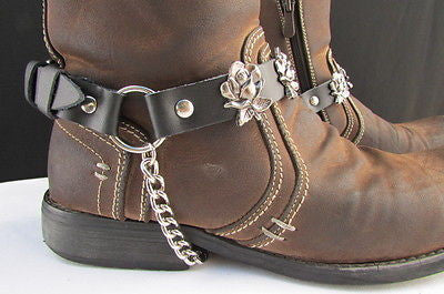 Silver Boot Chain Bracelet Pair Black Leather Straps Rose Flowers New Western Women Men - alwaystyle4you - 7