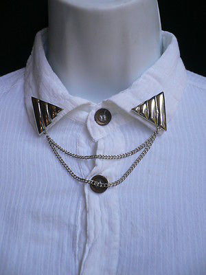 Men Women Silver Triangle Shirt Collar Blouse Tip Chains Rivet Pins Western Punk - alwaystyle4you - 3