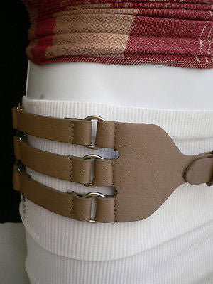 Aqua Blue Taupe Light Brown Black Red Faux Leather Elastic Hip Waist Belt Silver Buckle And Rings Rib Cage Women Fashion Accessories S M - alwaystyle4you - 12