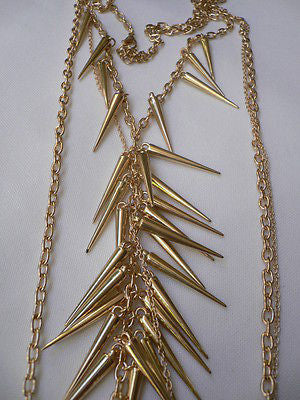 Women Gold Long Spikes Long Body Chain Fashion Trendy Fashion Jewerly Style - alwaystyle4you - 8