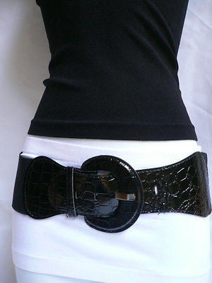 New Women Hip High Waist Stretch Wide Black Fashion Belt Plus Sizes: M L Xl - alwaystyle4you - 2