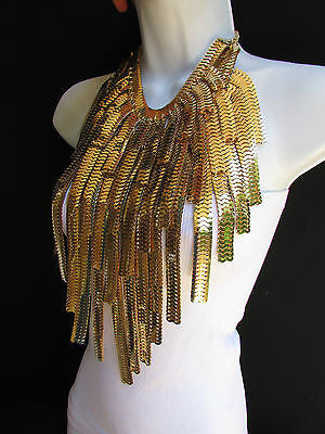 "Dressy Casual Wide Multi Strand Gold / Silver Links Chains Wide Metal New Women Necklace 20"" - alwaystyle4you - 3"