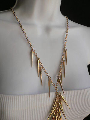 Women Gold Long Spikes Long Body Chain Fashion Trendy Fashion Jewerly Style - alwaystyle4you - 7