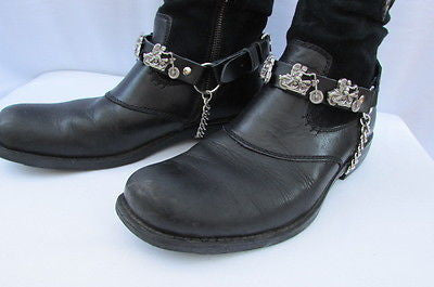 Biker Men Western Women Boot Silver Chain Pair Leather Motorcycle Boot Accessory - alwaystyle4you - 9