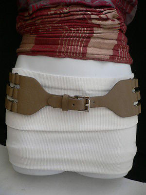 Aqua Blue Taupe Light Brown Black Red Faux Leather Elastic Hip Waist Belt Silver Buckle And Rings Rib Cage Women Fashion Accessories S M - alwaystyle4you - 8