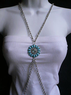 Blue Turquize Flower Beads Metal Body Chain Hot New Women Necklace Jewelry - alwaystyle4you - 3