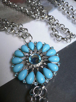 Blue Turquize Flower Beads Metal Body Chain Hot New Women Necklace Jewelry - alwaystyle4you - 9