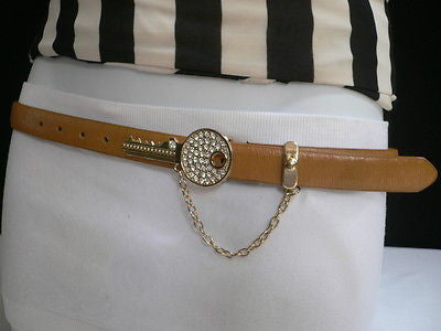 Brown Nude / Blue /  Black / Light Pink Hip Waist Thin Belt Metal Multi Rhinestones Gold Key Buckle New Women Fashion Accessories Medium - alwaystyle4you - 1