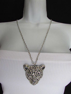 Ny Chic Women Silver Black Leopard Necklace Tiger Head Pendant Rhinestones Long - alwaystyle4you - 3