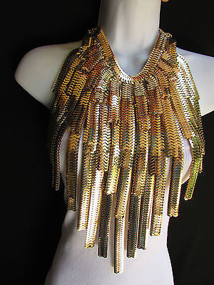 "Dressy Casual Wide Multi Strand Gold / Silver Links Chains Wide Metal New Women Necklace 20"" - alwaystyle4you - 8"