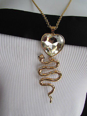 Women Gold Metal Chains Fashion Necklace Big Snake Pendant Heart Rhinestones - alwaystyle4you - 12