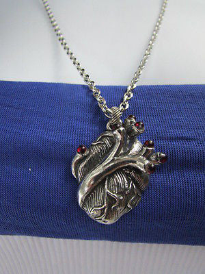 Men Women Silver Chains Fashion Necklace Metal Human Heart Red Stones Pendant - alwaystyle4you - 10