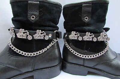 Biker Men Western Women Boot Silver Chain Pair Leather Motorcycle Boot Accessory - alwaystyle4you - 1